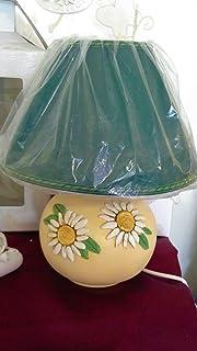 Le Ceramiche Del Re, Lampada da Tavolo, Badjour da Comodino, Lampada Decorata con Fiori Margherite, H 35 CM