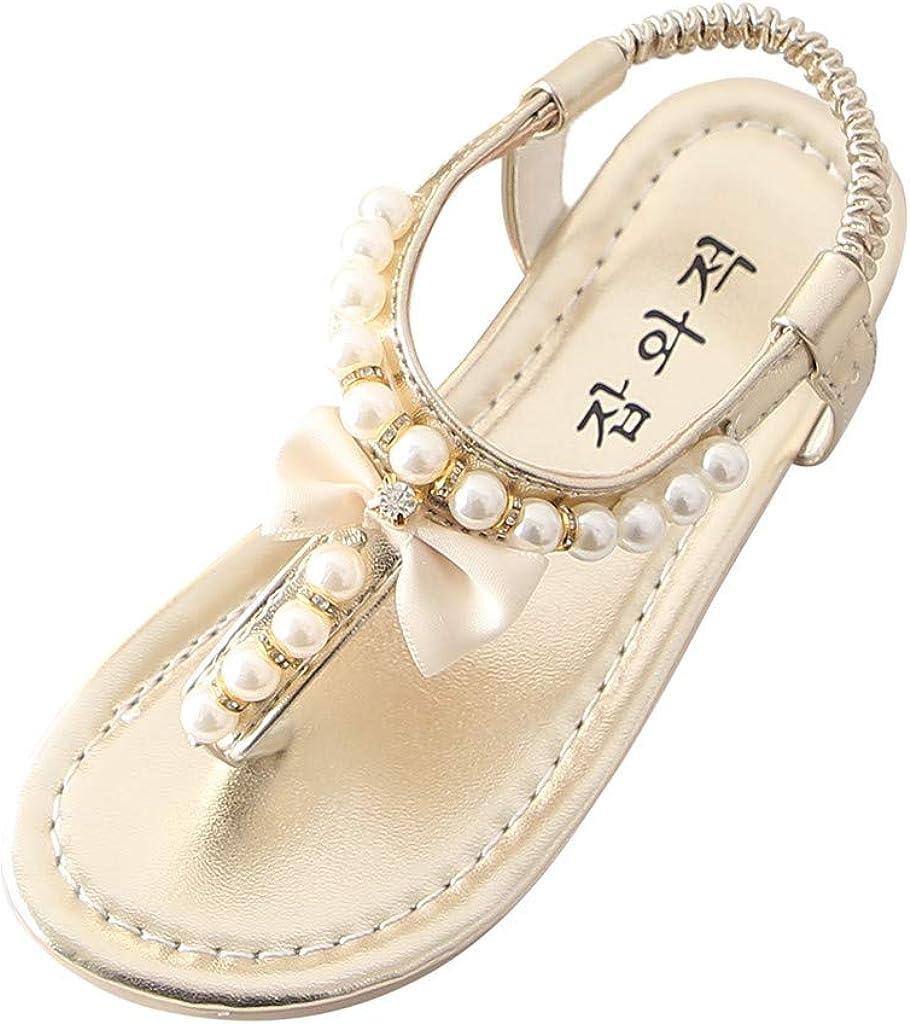 WUAI Toddler/Little Kid Girl's Slingback T-Strap Rhinestone Ankle Strap Thong Sandals