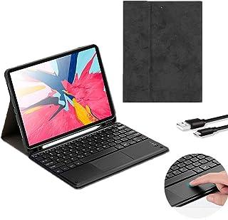 iPad 9.7 キーボード ケース タッチパッド付き Bluetooth キーボード カバー 薄型 軽量 タブレットpc ケース オートスリープ iPad保護ケース スマート スタンド機能付き キーボードカバ脱着式(Black)