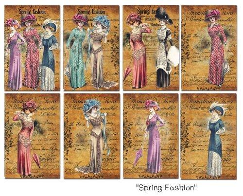 Paper Moon - Scrapbooking carta di lusso 10.5cm x 7cm x 8 fogli - Moda Primavera