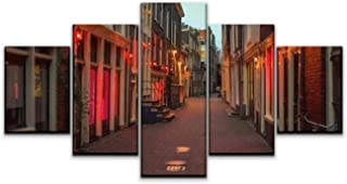 Skipvelo 5 Panels Wall Canvas Prints Pictures, Red Light District in Amsterdam, The Netherlands, Night View Windows Wall Paintings Wall Decor Stretched and Framed Ready to Hang
