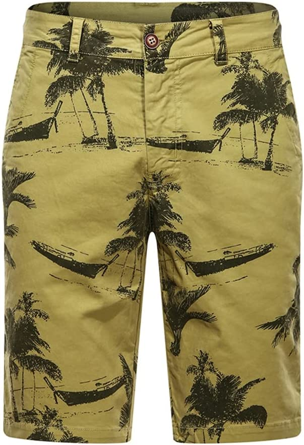 JJSPP Cargo Shorts Men Casual 100% Cotton Printed Board Shorts Man New Summer Streetwear (Color : A, Size : 36code)