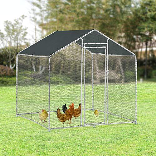Pro-Tec Freilaufgehege Freigehege 2x2x2m Tierlaufstall mit Sonnenschutz Kleintierstall Hühnerstall Hühnerkäfig Voliere - 4