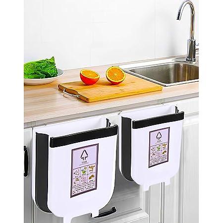 GOODS+GADGETS Cubo de Basura Plegable 9L Cubo de Basura Colgante Soporte de Bolsa de Basura Plegable para la Cocina y el ba/ño; Cubo para el Camping y el Coche
