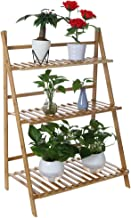 $22 » Bamboo Wood Ladder Plant Stand - Indoor Organizer Flower Display Shelf Rack, Flower Pot Shelf Rack for Flowers, Succulents, Books, Home Patio Lawn Garden Balcony Holder(3-Tier)