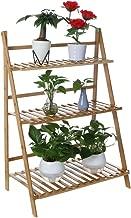 $22 » Bamboo Wood Ladder Plant Stand - Indoor Organizer Flower Display Shelf Rack, Flower Pot Shelf Rack for Flowers, Succulents, Books, Home Patio Lawn Garden Balcony Holder(3-Tier)