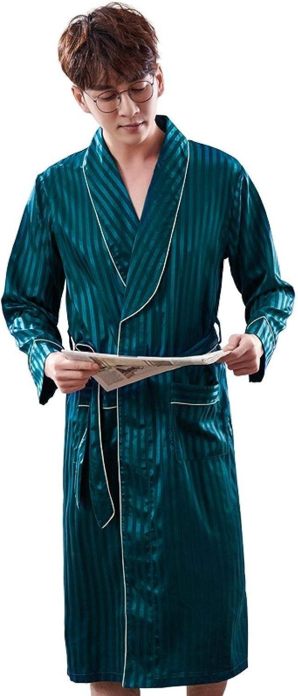 STJDM Nightgown,Luxury Striped Bathrobe Mens Plus Size Silk Satin Pajamas Kimono Summer Male Nightgown Silk Robe XXXL LX-98050