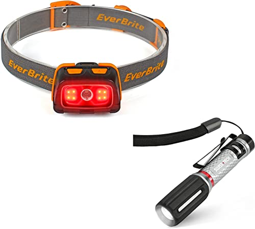 wholesale EverBrite lowest Headlamp - 300 Lumens Headlight with Red/Green Light and Tail Light, 7 Lighting popular Modes + Swiss+Tech Mini Aluminum Flashlight, IPX7 Water Resistant online sale