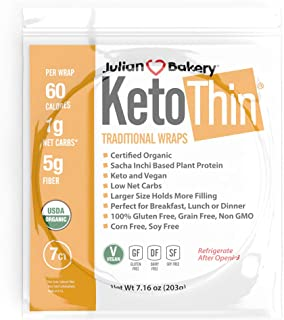 Julian Bakery Keto Thin Wraps | USDA Organic | Gluten-Free | Grain-Free | Low Carb | 1 Net Carb | 7 Individual Wraps