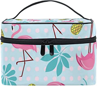 Portable Travel Makeup Cosmetic Bag Pink Flamingos Tropical Palm Leaves Durable Toiletry Organizer Train Case for Women Girls