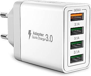 USB Ladegerät,Aioneus 4-Ports USB Charger mit 33W Intelligent QC 3.0 Schnellladegerät Mehrfach Ladestecker USB Netzteil fü...
