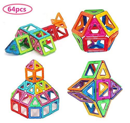 Morkka Magnetische Bausteine 64 Teile Magnete Bauklötze Konstruktion Blöcke Pädagogisches Spielzeug Set Kreative Spielzeugauto Tolles (64PCS)