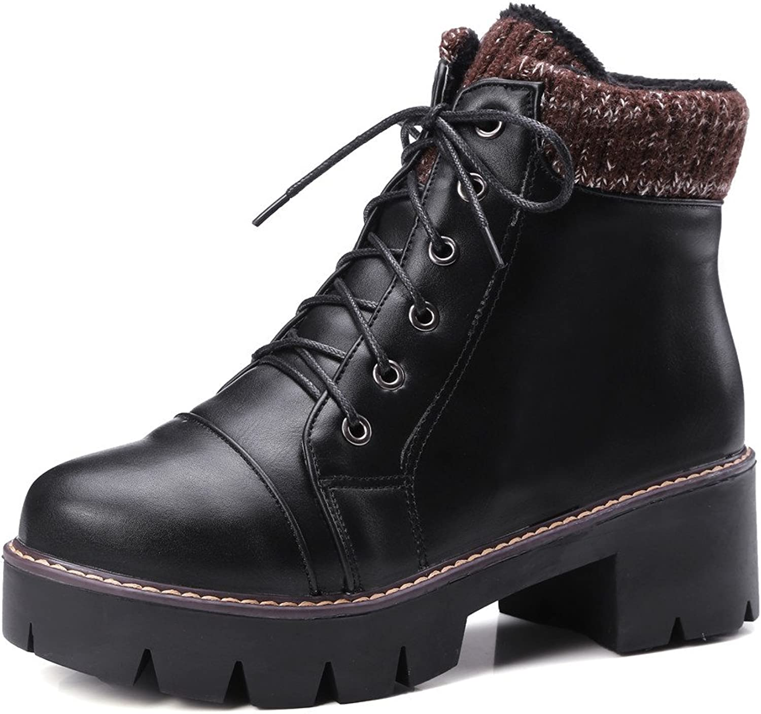 Lucksender Womens Short Plush Round Toe Lace Up Platform Chunky Mid Heel Short Boots