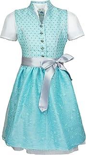 Isar-Trachten Kinder Dirndl Kiara mit Spitzenschürze - 3-TLG. - Türkis Grau - Kleid Bluse Schürze Hochzeit Kirchweih Oktoberfest Mädchen