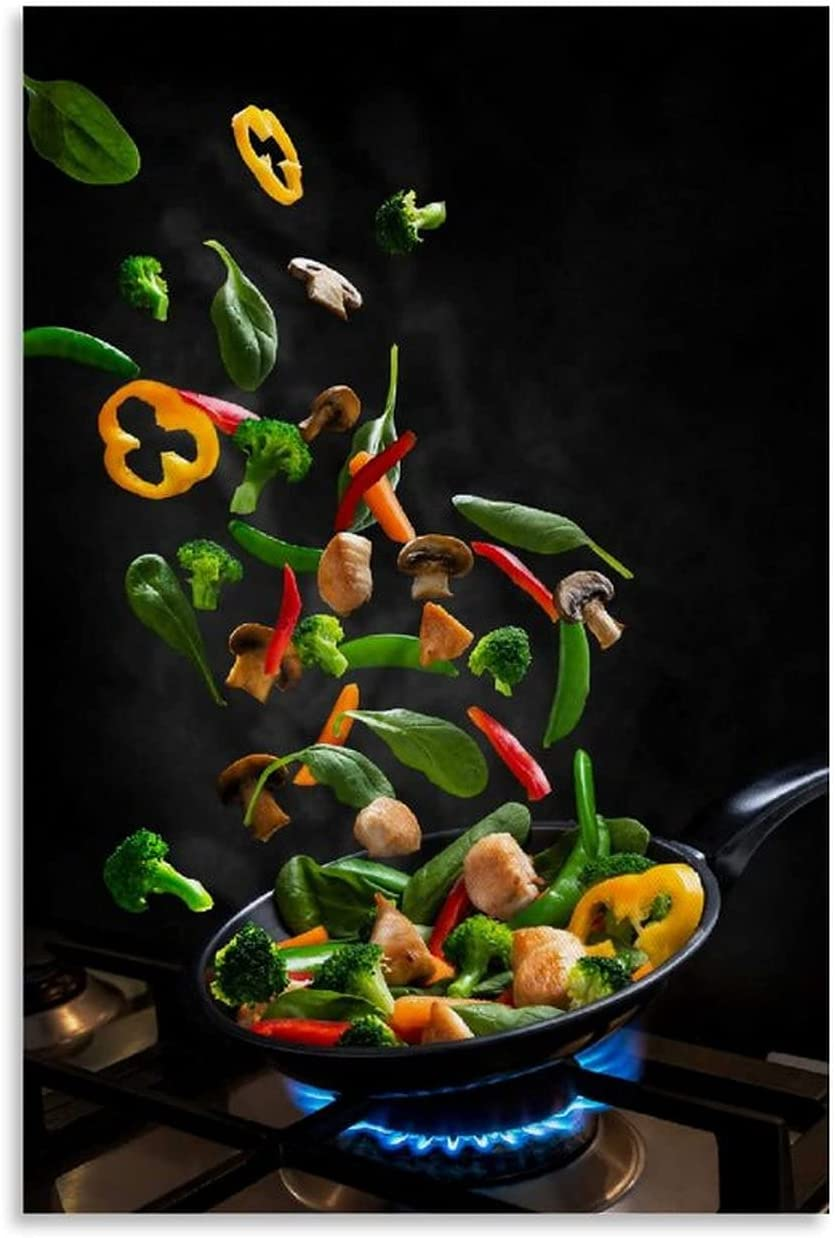Flying Food Green Vegetables Popular product Canvas Mural Pic Poster Luxury Art and