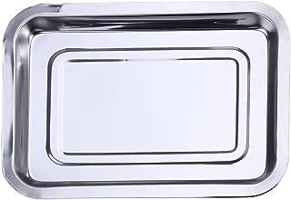 BESTONZON Bandeja de Horno Rectangular de Acero Inoxidable para Horno, Bandeja de Horno, Bandeja para Galletas, 45 x 35 x 4,8 cm, Acero Inoxidable, Plateado, 36x27x4.8cm