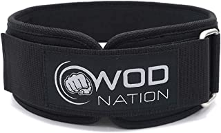 WOD Nation Weight Lifting Belt - 4 Inch Firm Support Nylon Weight Belt for Deadlift, Squat & Weightlifting - Sizes for Bot...