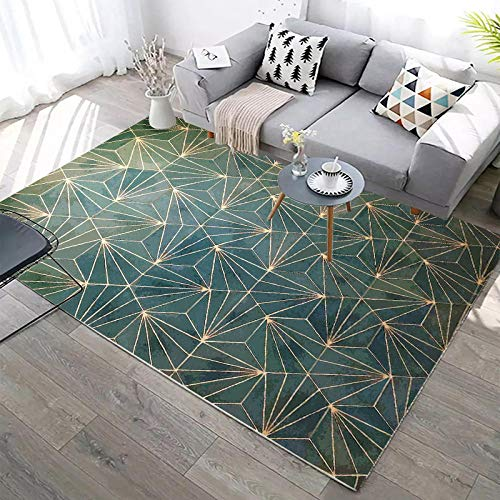 WQ-BBB Teppich teppch Waschbar beide heizen The End of Bed Rugs super luxuriös Carpet HD geometrischer Druck grün gelb Empfangsbereich tepisch 80X160cm