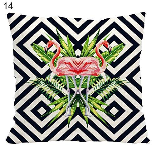 Housse de coussin carr/é en lin Motifs Feuille dananas et flamants roses  45/x/45/cm