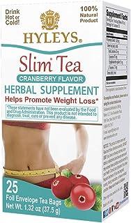 HYLEYS Tea Slim Tea Cranberry 25 Tea Bags (100% Natural, Sugar Free, Gluten Free and Non GMO), 1.32 Ounce