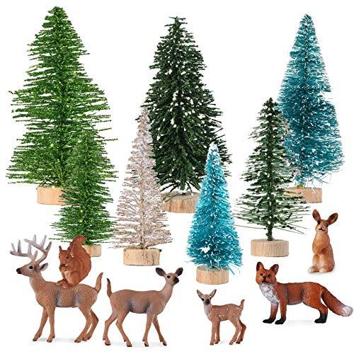 6 Pièces Mini Jouets de Figurines d'Animaux de Forêt de Noël Figurines de Créatures de Bois de Noël Topper de Gâteau d'Animaux de Forêt, 7 Ornements de Table de Neige Arbre de Noël en Plastique