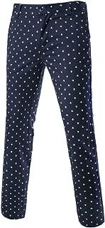 uxcell Men Anchor Allover Print Belt Loop Flat Front Pattern Pants