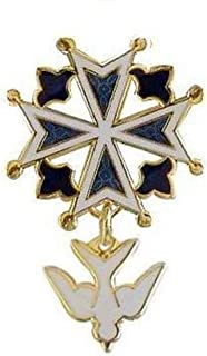 Chuck Norton Enamel Huguenot Cross Brooch/Pin