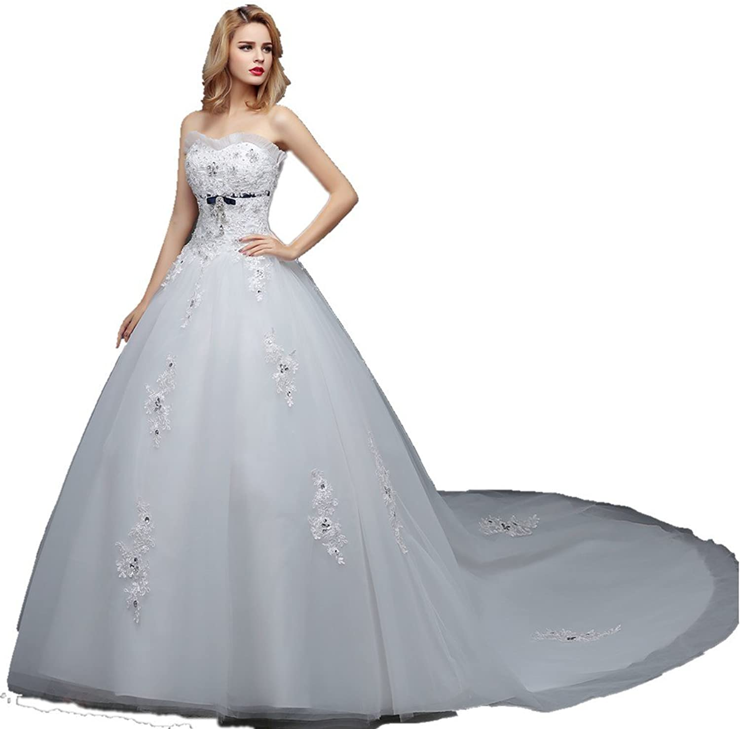 Shanghai Story Sweetheart Beaded Corset Strapless Classic Train Wedding Dress