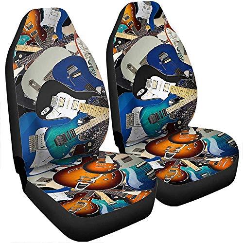 Beth-D 3D muziek akoestische gitaar elektrische gitaar autostoelhoezen set met 2 cadeaus geschikt voor gitaar 14 – 17 inch