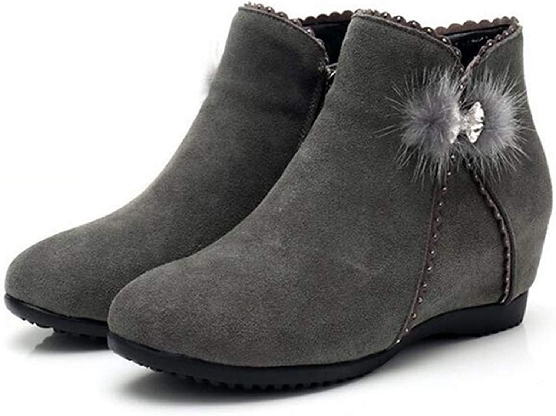 Fay Waters Women's Matte Cowhide Leather Rhinestone Snow Boots Low Wedge Increased Heel Ankle Booties