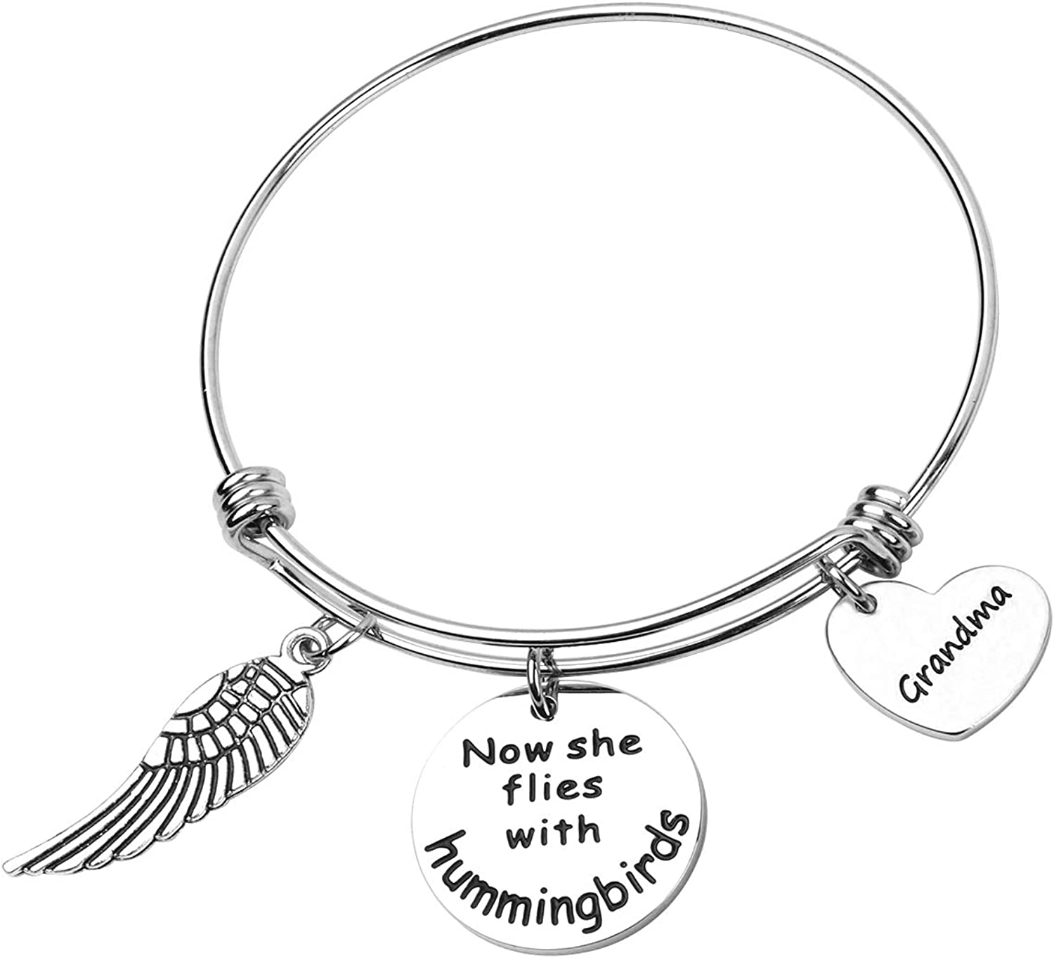 REEBOOOR Memorial Jewelry Now She Flies with Hummingbirds Bracelet Keychain Remembrance Gifts