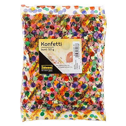 Idena 8270076 - Konfetti, 50 g, Mehrfarbig, aus Papier, Dekoration, Geburtstag, Karneval, Mottoparty