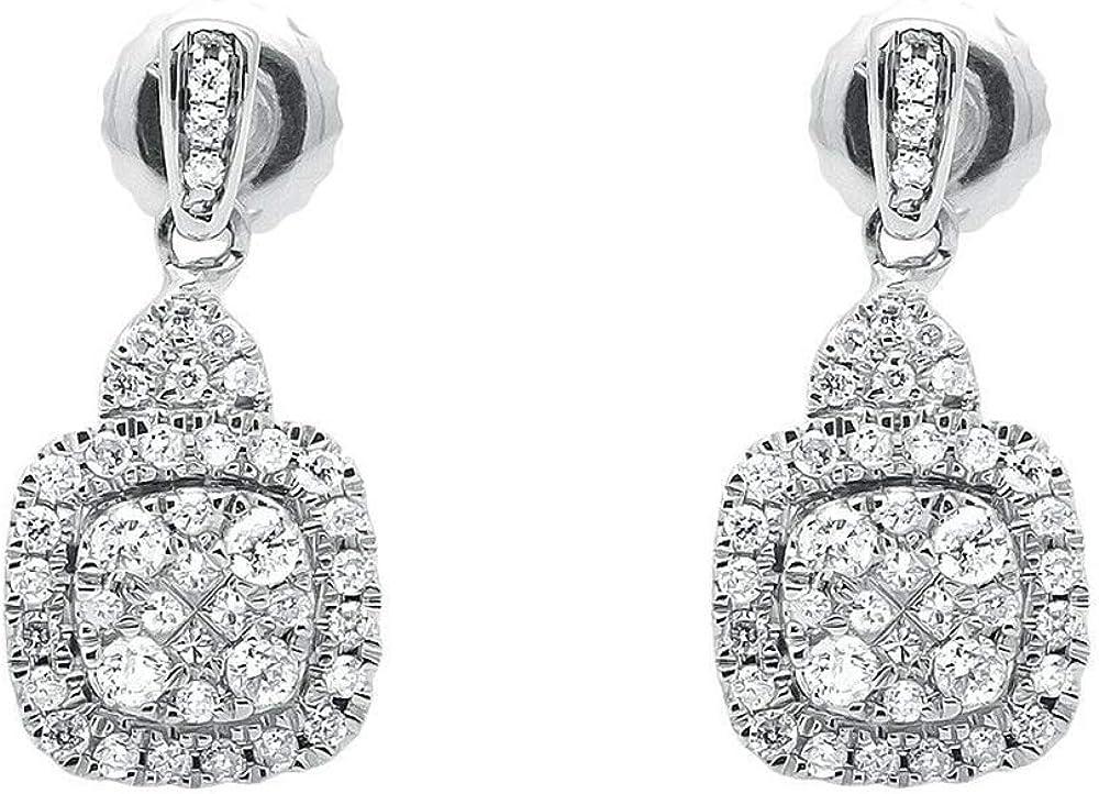 Gemhub orecchini in oro rosa placcato in oro bianco 14k  con diamanti genuini 0.47ct ERNG-089