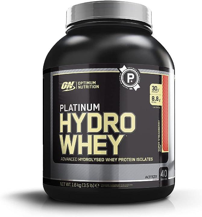 Proteine del siero del latte idrolizzate con aminoacidi ramificati optimum nutrition hydro whey 1,6kg fragola 1076045