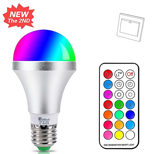 NetBoat Bombillas de Colores LED E27 10W,LED Bombilla Regulable 12 Color,con 21
