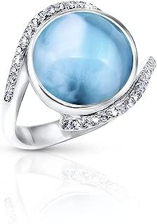 Marahlago - Adella Larimar Ring with White Sapphire