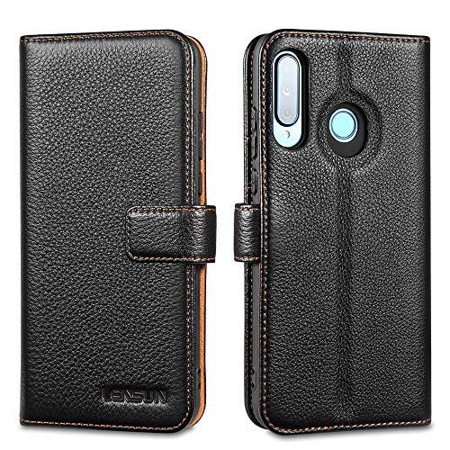 LENSUN Funda Huawei P30 Lite / P30 Lite New Edition, Funda de Cuero Genuino con Tapa Cierre Magnético y Ranuras para Tarjetas Carcasa Libro Protección para Huawei P30 Lite - Negro (P30L-LG-BK)