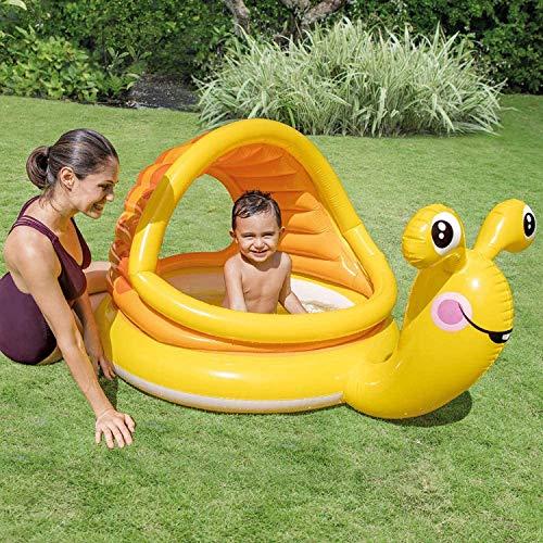 Aufblasbares Planschbecken Babypool Baby-Schwimmbad Swimmbad kleiner Pool Schnecke mit Sonnendach Sonnenschutz Dach mit aufblasbarer Boden Rund gelb für Balkon Garten Terrasse Spielzeug
