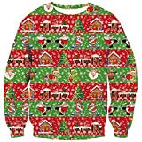 TUONROAD Hilarious Xmas Sweatshirts Light up Ugly Christmas Holiday Vacation Santa Candies House Gift Sleigh Tree Red Green Stripe Pullover Sweater Novelty 3D Print Long Sleeve Jumper