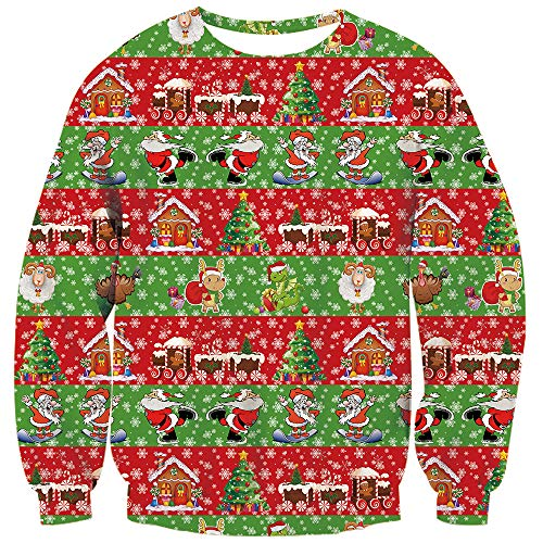 TUONROAD Mens Womens Ugly Best Christmas Sweatshirt Red Green Holiday Party Ribbon Animal Gift Elf Printed Family Matching Xmas Sweater Crew Neck Long Sleeve Pullover Jumpers Top
