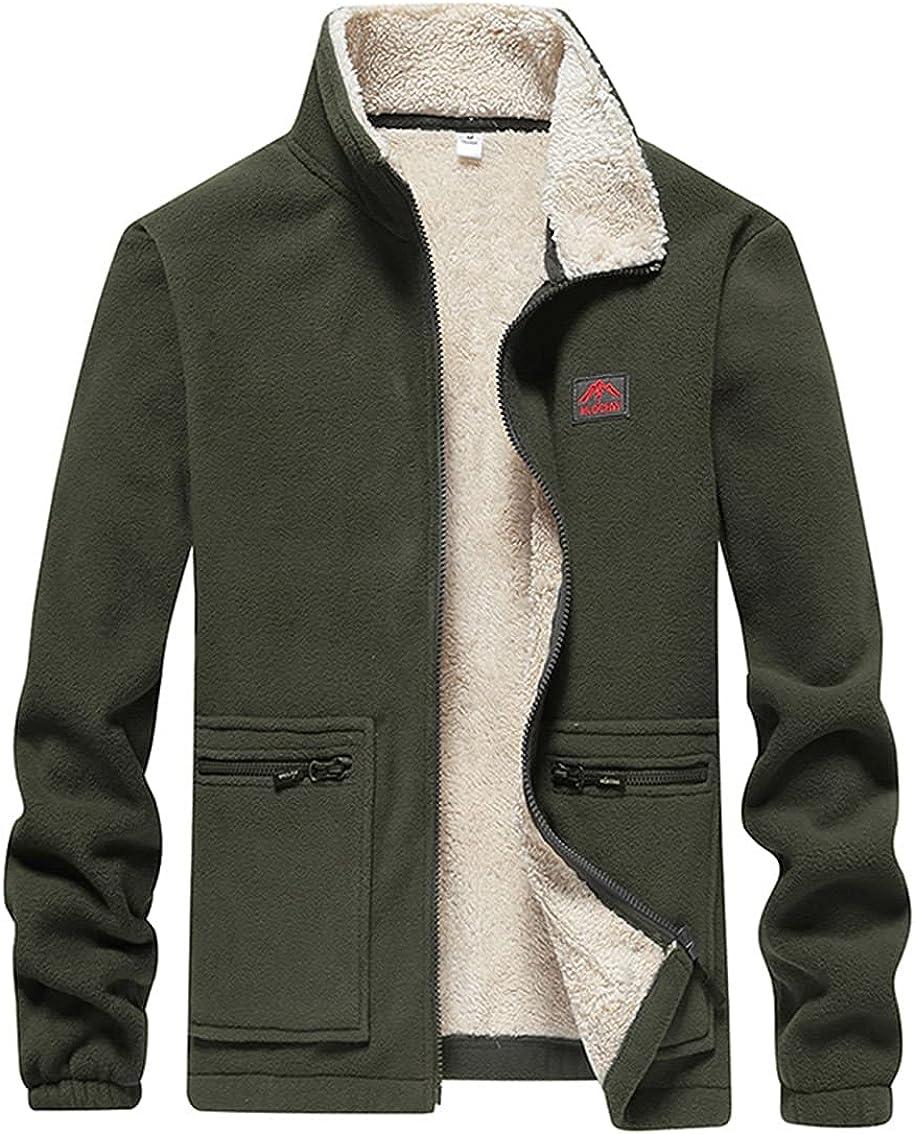 KCLDFJ Men`S Fleece Military Jacket Streetwear Thermal Breathable Sport Hiking Coats Warm Workout Clothing