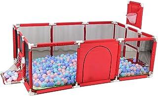 XHJYWL Parque Infantil portátil para aro de Baloncesto Incluido, Patio portátil de Seguridad con colchoneta para niños pequeños y niños, Azul/Rojo (Color: Rojo)