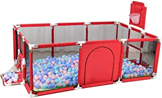 XHJYWL Playpen Portable Baby Basketball Hoop Included  Security Portable Playard with Crawling Mat for Toddler  amp  Child  Blue Red  Color Red