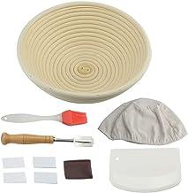 Bread Banneton Proofing Bakeware Set Banneton Proofing Basket for Dough Rising Liner Cloth + Bread Knife + Scaper+ Bread L...