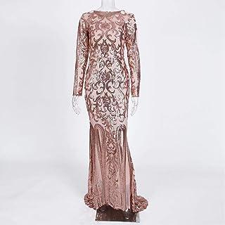 Elegant Full Sleeve O-Neck Sequin Evening Dress Dress Stretch Maxi Dress