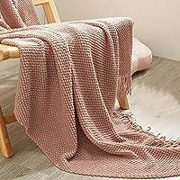 HJYANAN 装飾的なニット毛布豪華な居心地の良い軽量ベッドのソファのリビング ルームの毛布のための(Size:125x220cm,Color:ピンク)