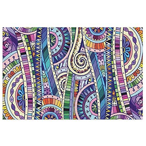 FFLSDR Felpudo Antideslizante Alfombra de Entrada Alfombra Estilo de Mosaico geométrico Colorido Arte de Flores Bienvenido Entrada de PVC Alfombrilla de Patio 40X60CM