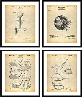 Bestbuddy Pet Golf Patent Posters Series Set of 4 Golf Gifts for Friends Golf Decor Office Decor Golf Club Golf Ball N039