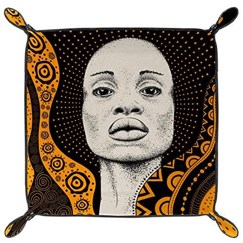 HANDIYA Faltbares Würfeltablett aus PU-Leder für Uhren, Schmuck, Aufbewahrungsbox, schwarz, afrikanisches Mädchen, schwarz