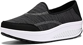 zaragfushfd Slip-On Platform Shoes,Women Breathable Pure Color Swing Rocker Shape Casual Walking Sneaker